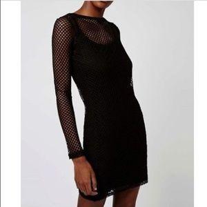 Topshop Black mesh bodycon mini dress size 2